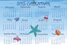 2015- Sea Concept Calendar Royalty Free Stock Photos