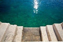 Sea concrete stairs stone pier Stock Photo