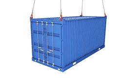 Sea container lifted with crane hooks. 3d rendering stock illustration