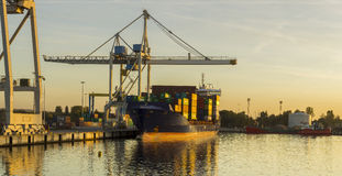 Sea container ship in port Royalty Free Stock Photos