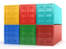 Sea containers. Of different colors on white background Stock Image
