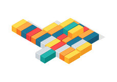 Sea Containers in Isometric Projection Vector. Sea containers vector. Isometric projection illustration. Line of different color metal containers for goods Royalty Free Stock Image