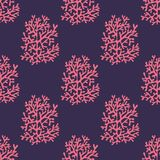 Sea corals on a purple background. Seamless vector pattern Royalty Free Stock Photography