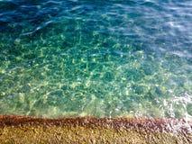 Sandy beach and blue waters. Blue waters off sandy beach in Mediterranean Sea in Corfu, Greece stock photos