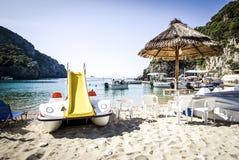 Sea in Corfu island in Greece. Palaiokastritsa bay at Corfu island in Greece Stock Photo