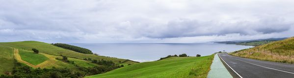 Sea cost panorama , Bay of Biscay, Asturias, Spain Stock Photography