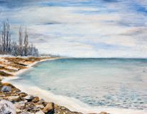 Sea is covered with ice. Oil painting Royalty Free Stock Photos