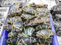 Sea crab on box had bundle by plastic rope. On stainless table in seafood market Stock Photo