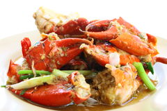 Sea crab fried with tamarind sauce Royalty Free Stock Photos