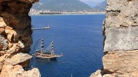 Sea craft. Alanya stock footage