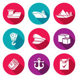 Sea craft Icons Set. Vector Illustration Royalty Free Stock Images