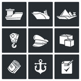 Sea craft icons. Vector Illustration. Stock Photography