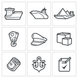 Sea craft icons. Vector Illustration. Stock Images