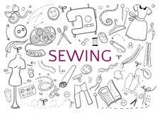 Sea creativo en elementos de costura se ennegrecen en blanco Imagen de archivo libre de regalías