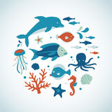 Sea Creature Collection Stock Images