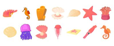 Sea creature icon set, cartoon style. Sea creature icon set. Cartoon set of sea creature vector icons for web design isolated on white background Stock Illustration