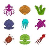 Sea creature icon set, color outline style. Sea creature icon set. Color outline set of sea creature vector icons for web design isolated on white background vector illustration