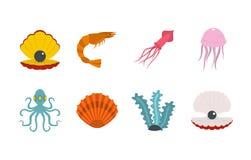 Sea creature icon set, flat style. Sea creature icon set. Flat set of sea creature vector icons for web design isolated on white background Royalty Free Stock Photo