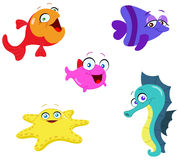 Sea creatures. Collection of cute cartoon sea creatures Stock Photos
