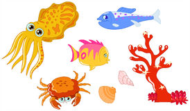 Sea creatures 2. Cute cartoon sea creatures and seashell set Royalty Free Stock Photos