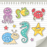 Sea creatures. Set of cartoon sea creatures, vector stickers Royalty Free Stock Photo
