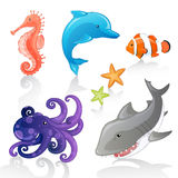Sea Creatures. Set of Cartoon Sea Creatures Stock Photography