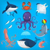 Sea creatures and animals. Colorful cartoon marine animals and sea creatures Stock Photo