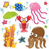 Sea Creatures Cartoon Collection Royalty Free Stock Image