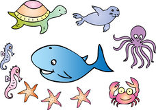 Sea creatures. A cartoon illustration of several sea creatures including seahorse,whale,turtle,seal,octopus,crab and starfish Royalty Free Stock Photography