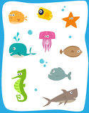Sea Creatures. Cartoon set of nine cute baby sea creatures. Eps10 Royalty Free Stock Image