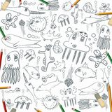 Sea creatures, child drawing seamless background with color pencils Royalty Free Stock Image