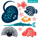 sea creatures for children royalty free stock photography