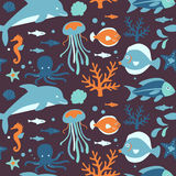 Sea Creatures Collection: Seamless Pattern. Set of cute underwater related icons arranged in a circle. Available as  in Illustrator EPS 10 format with organized Stock Photography