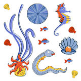 Sea creatures colorful collection. Cute sea creatures colorful collection. Vector illustration Stock Image