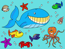 Sea creatures doodle Stock Photography