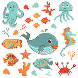 Sea creatures doodles set Stock Photo