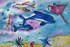 Sea creatures painted by child stock photo