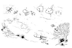 Sea creatures moms and kids doodle Royalty Free Stock Image