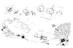 Sea creatures moms and kids doodle. Sea creatures moms and kids, baby shower doodle Royalty Free Stock Image