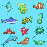 Sea Creatures. 12 sea creatures, neatly laid out and ready to be used in your book, logo or other projects Royalty Free Stock Photos