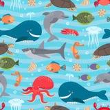 Sea creatures seamless background vector illustration