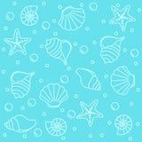 Sea creatures seamless pattern vector illustration
