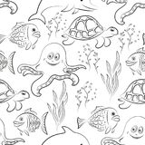 Sea Creatures Seamless. Seamless Pattern, Cartoon Sea Creatures, Dolphin, Fish, Turtle, Octopus and Algae Black Contours Isolated on White Tile Background Royalty Free Stock Photo
