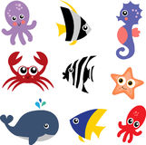 Sea Creatures. Set of Colorful Sea Creature Icons Stock Photography