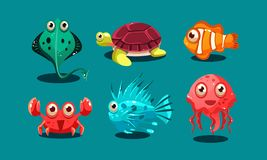 Sea creatures set, cute funny animals and fishes characters, octopus, flounder, jellyfish, clown fish, turtle and medusa. Vector Illustration, web design vector illustration