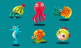 Sea creatures set, cute funny animals and fishes characters, seahorse, snail, cuttlefish, puffer fish, hermit crab. Vector Illustration, web design stock illustration