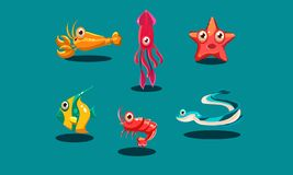 Sea creatures set, cute funny animals and fishes characters, squid, starfish, shrimp, lobster, zebrasoma fish, eel. Vector Illustration, web design vector illustration