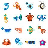 Sea Creatures Set Stock Images