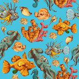 Sea creatures sketch colored seamless pattern Royalty Free Stock Photo