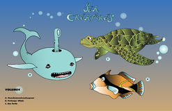 Sea creatures volume 4. A selection of  sea creatures, whale, sea turtle and Hawaii state fish Stock Photos
